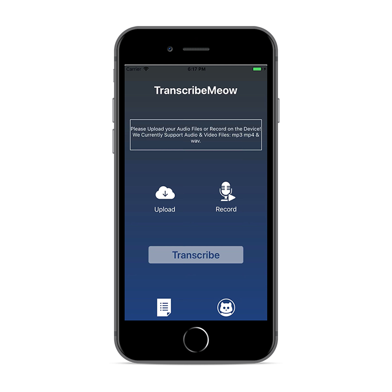 TranscribeMeow home transcription page on iPhone Transcribe Audio